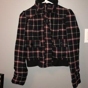 3/$30 Plaid cropped jacket